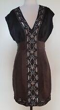SEDUCE Black/Grey/Silver Beaded Silk Blend Dress Size 8