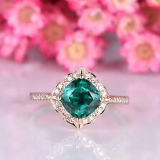 1.12Ct Cushion Cut Emerald Diamond Vintage Halo Engagement Ring Yellow Gold Fnsh