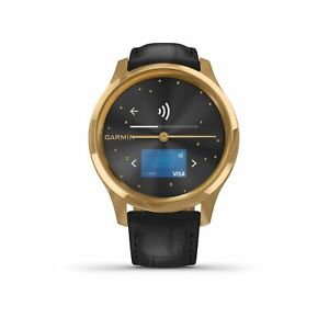 Garmin vivomove(R) Luxe 24K Gold PVD Stainless Case & Black Leather 010-02241-02