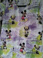 Disney Woman's Nurses Scrub Top Mickey & Minnie Endless Summer Purple-Green -Xs