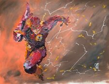 "24"" Original Abstract Flash Barry Allen Running Comic Book Painting Wall Art"