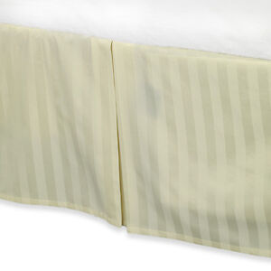 """Cream Colored Luxury Bed Skirt: 100% Egyptian Cotton, 500 Thread Count, 15"""" Drop"""