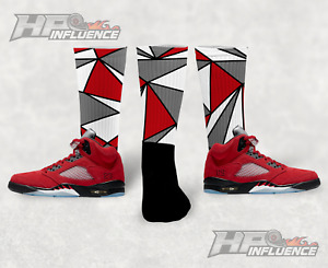 "Sneaker Match Socks ""MOSAIC"" Jordan 5 Retro Raging Bulls Red Match Socks"