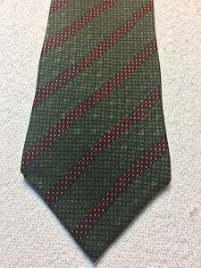 NAUTICA MENS TIE 4 X 59 GREEN WITH BURGUNDY STRIPES HINT OF GOLD NWOT