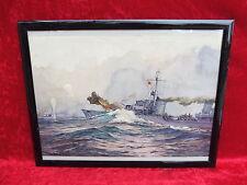 schönes, altes Bild __original Aquarell__Kanonenboot (Kriegsschiff)__signiert__
