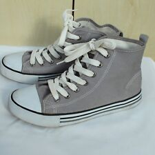 Next Girls Ladies Junior Grey Lace Up Shoes High Top Trainers Casual 3 UK (EU 36