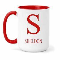 Sheldon Nombre & Inicial Taza - Regalo en Varios Colores para Café o Té