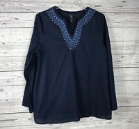 New Additions Navy / Light Blue Embroidered V-Neck Maternity Top / Blouse Size M