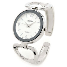 Geneva Silver Tone Metal Large Face Women's Bangle Cuff Watch