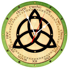 Triquetra symbol Celtic wooden wall clock / Force on nature / Power of three