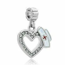 Heart Love Silver Plated Charms Nurse Cap Red Cross Dangle Beads for Bracelets