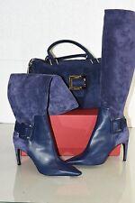 NEW SET Roger Vivier Ink Blue Bauletto Metro BAG + Ale Miss Boots Shoes 40