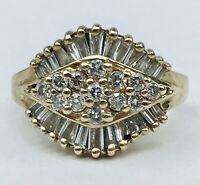 Vintage 14k Plum Diamond Cluster Wedding Cocktail Ring .75 Ctw Size 5