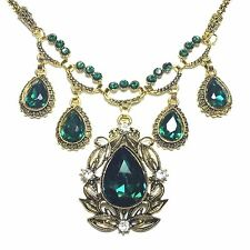 Green Emerald Carved Vintage Pendant Choker Statement Necklace 18 Women Jewelry