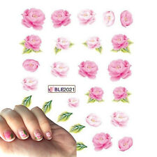 Nail Art Water Decals Stickers Transfers Baby Pink Pastel Flowers Roses 2021