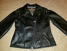 Women's Harley Davidson Black Leather Motorcycle Jacket with studs Sz small