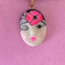 """Flamingo"" Adagio Face Necklace Hand-Painted Porcelain Swarovski Crystal"