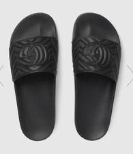 Gucci Men's Black Rubber Matelassé Slides. Size US 7.5 / EU 7. New & Authentic