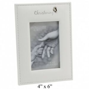 PU Christening Photo Frame with Foil Text & Feet Icon