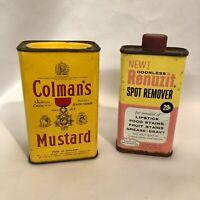 Vintage & Original 1960's Colman's Mustard 4oz Tin & Renuzit Spot Remover