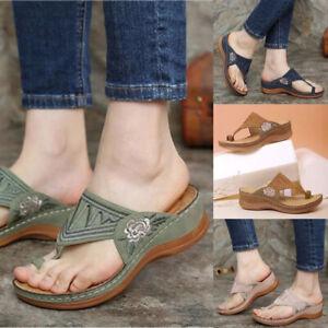 UK Women Orthopedic Sandals Comfy Summer Flip Flops Slippers Flat Shoes Beach ❥