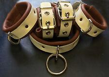 Leather 10 pc cuffs set restraint set wrist ankle collar brown white strap