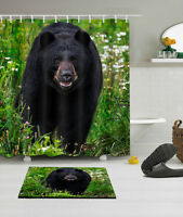 "Black Bear In Flower Waterproof Polyester Shower Curtain&Mat&Hook 60/72/79"" 4505"