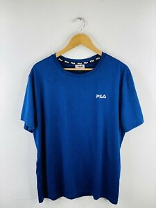 FILA Men's Running T Shirt Size 2XL Blue Casual Logo Short Sleeve Crew Athletic