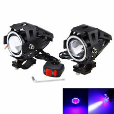 2X 125W 3000LM Motor Motorcycle U7 LED Headlight Driving Fog Light Lamp Switch