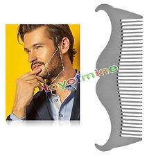 Acero inoxidable Peine de bigote barba Bolsillo de metal No estático Cepillo