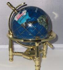 Genuine Multi-Gemstone Desktop Globe Gold Tone Base Turquoise Globe Free S & H