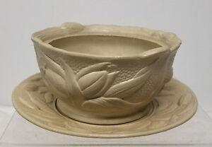 Antique Vintae Creamware Bowl and Plate Floral Tulip Design Dudson