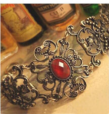 Fashion Vintage Inlaid Ruby Carved Bracelet
