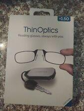+1.50 ThinOptics KC1.5BLACKISR Reading Glasses With Keychain Case, Black
