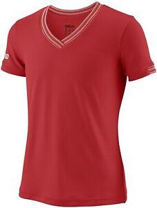 Wilson Fille T-shirt Tennis Chemise à manches courtes avec col en V, rouge, tail