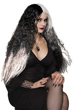 LADIES WITCH WIG BLACK WHITE OMBRE VAMPIRE GHOST HALLOWEEN FANCY DRESS COSTUME