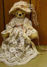"Vintage Ooak Mohair Ribbon Embroidered paw Teddy Bear 7"" by artist Nita Schwenn"