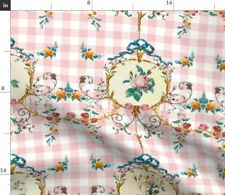 Gingham Floral Pink And Flowers Plaid Peony Fabric Printed by Spoonflower BTY