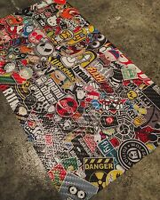 "Carbon Fiber Sticker Bomb Wrap Sheet 10""x5.5"" JDM Custom Vinyl Decal Sticker"