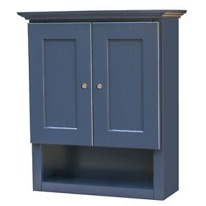 Two Door Blue Bathroom Wall Cabinet with shelf 21x26