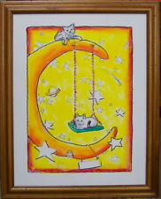 Swinging on the Moon Kitties by Bill Crowley original framed canvas personalized