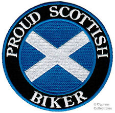 PROUD SCOTTISH BIKER embroidered PATCH SCOTLAND FLAG iron-on St. Andrew's Cross