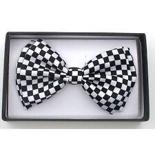 New Tuxedo PreTied White Black Checkered Bow Tie Satin Adjustable Bowtie