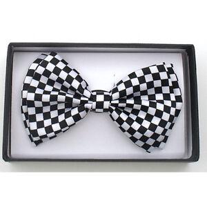 New Tuxedo PreTied White Black Checkered Bow Tie Satin Adjustable Check Bowtie