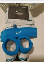 Nike Baby Boy Infant Hat & Booties Set ~ Blue& White ~ 0-6 Months