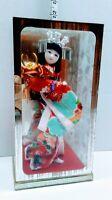 "Authentic Vintage Japanese Geisha Doll w Battle Helmet in Display Case 9"" Japan"