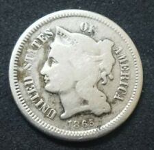 1865 US 3 Cent Nickel Piece END CIVIL WAR 155 YEARS OLD COIN 3c