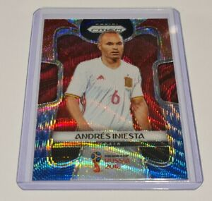 2018 Panini Prizm WC Soccer Red And Blue Wave Andres Iniesta