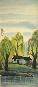 Excellent 100% Hand painted Chinese Scroll Painting by Lin Fengmian 林风眠  山水