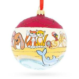 The Noah's Ark Glass Ball Christmas Ornament  4 Inches